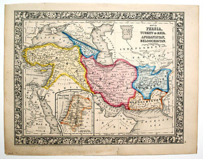 1863 Persia, Turkey, Afghanistan..., Mitchell Antique Hand-Colored Map
