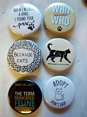 """1.5"""" CAT LOVER Set #1  6-pk Novelty Buttons/Pins: For backpacks, Jackets & More"""