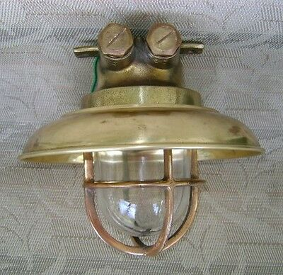 Small Cast Brass Ceiling Light With Brass Cover - Ship Salvaged #Y