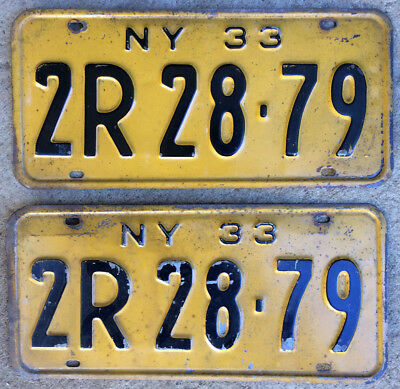 1933 New York license plate pair 2R 28 79 YOM DMV clear Ford Chevy roadster