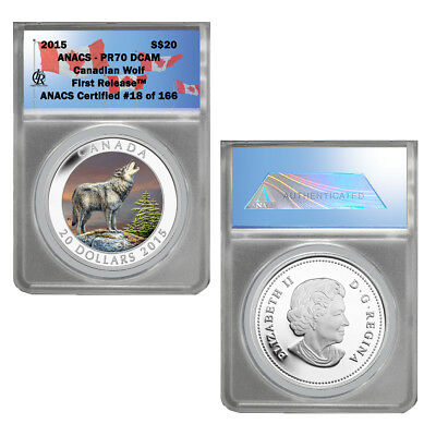 2015 Canada $20 The Wolf - 1 oz. Fine Silver Colored Coin PR 70 First Release