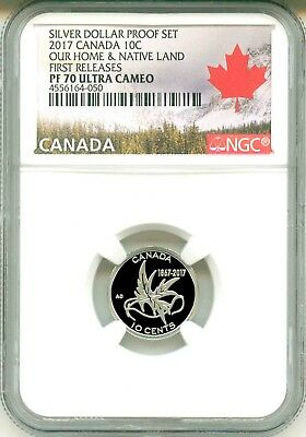 2017 Canada .10c  Silver Dollar Proof Set Wings Of Peace FR NGC PF70 Ultra Cameo