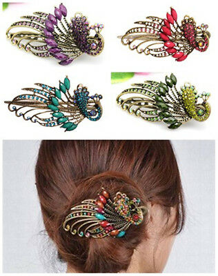 Vintage Chinese Court Style Crystal Peacock Hair Clips Ladies' Oriental Hairpin