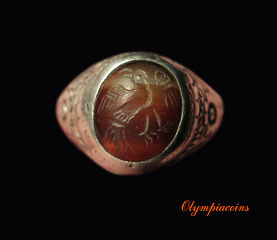 ** EXTRAORDINARY ** HUGE MEDIEVAL Decorated Silver ring RED STONE ** EAGLE **