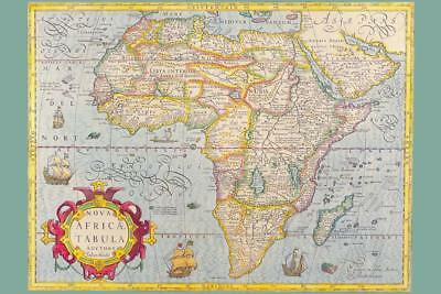 Map of Africa 1610 Antique Vintage Style Art Print Poster 24x36 inch