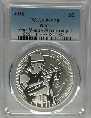 PCGS MS70 2018 Niue STAR WARS STORMTROOPER $2 Silver 1oz Ag New Zealand Coin NZ