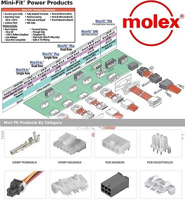 Molex 2,4,6,8,10,up 24 Pins Male & Female Housing w/ Pins 18-24 - Mini-Fit Jr ™