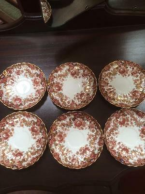 ANTIQUE CIRCA 1880s SAMUEL RADFORD TEA PARTY SAUCERS GOLD & IMARI PATTERN