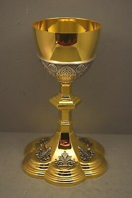 + Traditional Gothic Chalice + 9 1/2 ht. + Two Tone + Benziger Bros. + (CU72) +