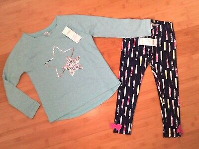 NWT Gymboree Girls Outfit - Size S 5-6 Star Top & 5T Bow Pencil Leggings NEW