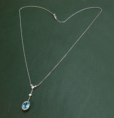 Erstklassiges 765er/950er Jugendstil-COLLIER m. DIAMANT u. AQUAMARIN ~1925• Gold