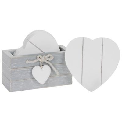 Set of 6 Provence Grey Heart Shabby Chic Wooden Coasters Valentine Gift