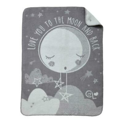 Clair de Lune Over The Moon Fleece Blanket (Grey) Made From Cotton Blend