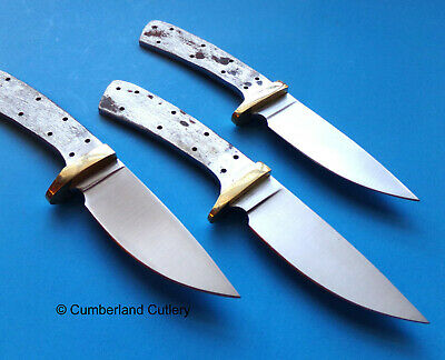 Lot of 3 Knife Making Blade Blanks with Brass Finger Guards Hunting Skinning