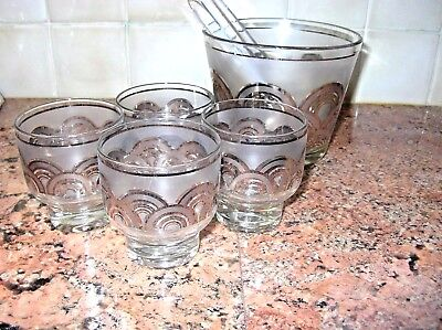 Vintage Culver Glass Ice Bucket & 4 Low Ball Tumblers Mid Century Silver Arcs