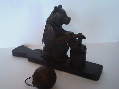 Charming Vintage Carved Black Forest Bear Toy, Chopping Wood