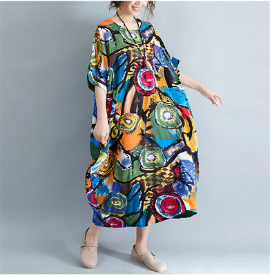 Women Loose Floral Baggy Dress 100% Cotton Bohemia Oversize Short Sleeve Summer