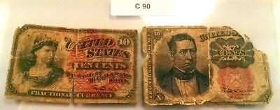 Two 10 Cent 10C Fractional Notes 1869 & 1874 4Th & 5Th Issues - Culls - C90