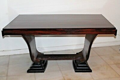 c1930's SPECTACULAR FRENCH ART DECO EXOTIC MACASSAR EBONY DINING TABLE OR DESK