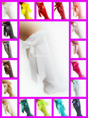 New Carlomagno Spanish Girls Baby Classic Knee High Satin Bow Socks - 25 Colours