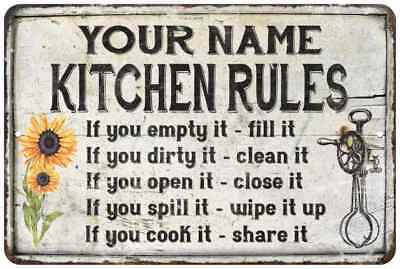 Your Name Kitchen Rules Chic Metal Sign 8x12 Home Kitchen Decor Mom Gift idea