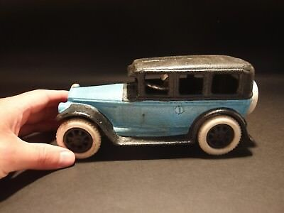 Antique Vintage Style Cast Iron Blue Sedan Toy Car w Rubber Tires