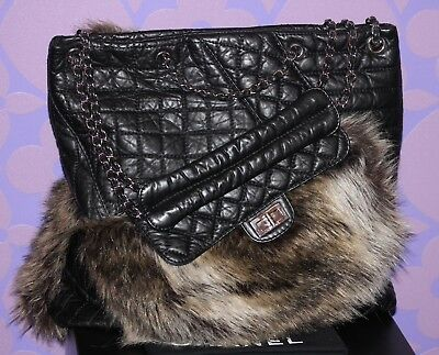 f5f2215a5ba CHANEL QUILTED CALF Fantasy Fur *KARL'S CABAS* Tote XL Chain Reissue Bag  LIMITED