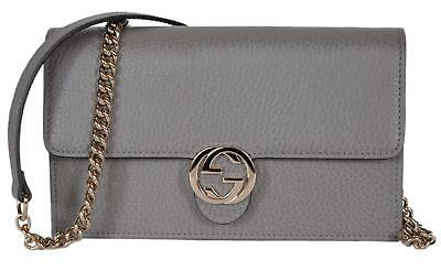 NEW Gucci 510314 Grey Leather Interlocking GG Crossbody Wallet Bag Purse  Clutch ba4044591a3d8