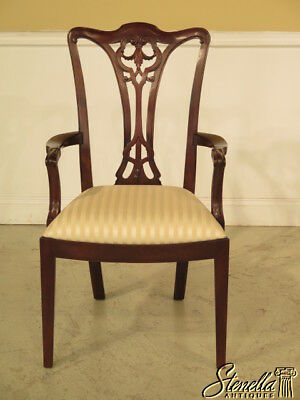 L37835: HENKEL HARRIS #108 Chippendale Mahogany Dining Room Arm Chair ~ New