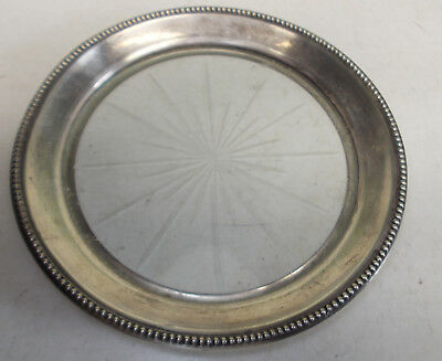 "sterling silver beaded rim glass base FRANK M WHITING WINE COASTER 5 1/4""  #C"