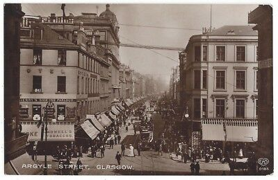 GLASGOW Argyle Street From Central Station, RP Postcard by Schwerdtfeger, Unused
