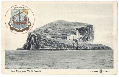 NORTH BERWICK Bass Rock & Coat of Arms, Reliable Series Postcard Unused