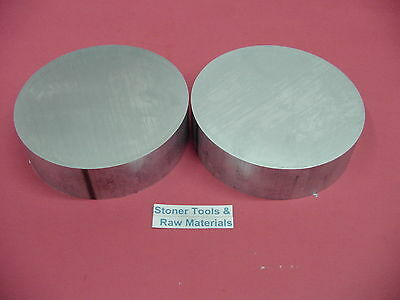 """2 Pieces 4"""" ALUMINUM 6061 ROUND BAR ROD .5"""" LONG 4.00"""" OD New Lathe Solid Stock"""