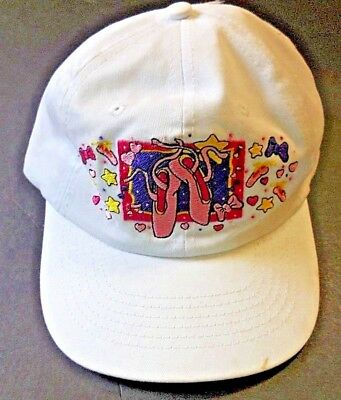 White w/Pink Ballet Embroidery Baseball style Cap Hat Dance Child/Adult