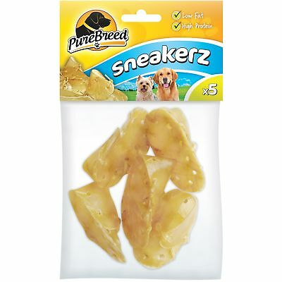 5pc 7cm Rawhide Chew Sneakers Natural Dog Treats Laced Chewy Biscuit Food Shoes