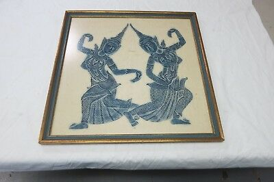 """Early Vintage Thai  Charcoal Temple Rubbing Framed Art 20 1/2"""" X 20 1/2"""""""