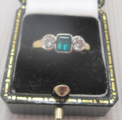 A Beautiful Vintage Emerald & Diamond Ring in 18ct yellow Gold