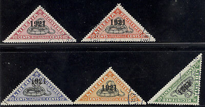 """Liberia 1921 SNAKE registration triangles, all NORMAL """"1921"""" used $ #F25-9"""