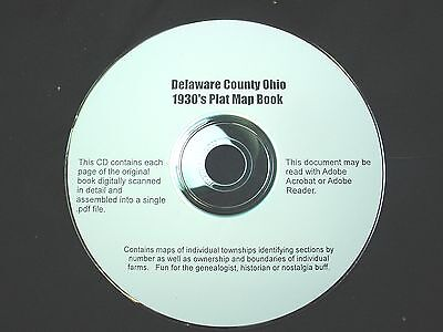 CD ~ 1930's Delaware County Ohio Plat Map Book