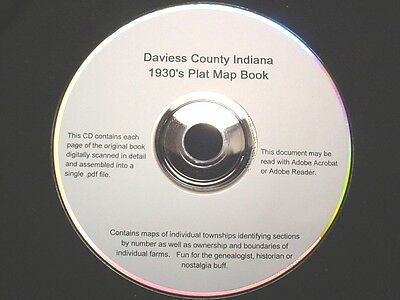 CD ~ 1930's Daviess County Indiana Plat Map Book