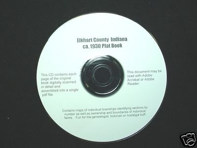 CD ~ ca.1930 Elkhart County Indiana Plat Map Atlas