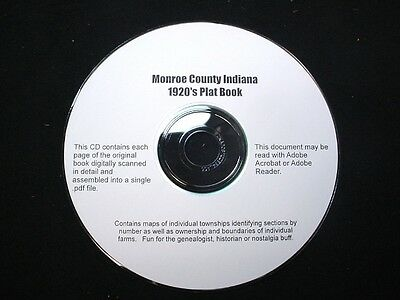 CD ~ 1930's Monroe County Indiana Plat Map Book
