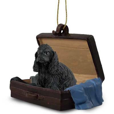 Cocker Spaniel Black Traveling Companion Dog Figurine In Suit Case Ornament