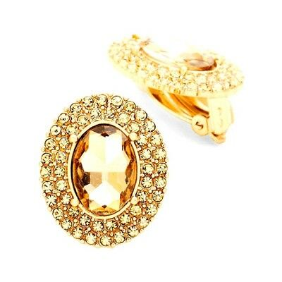 Topaz Austrian Crystal Clip on Chunky Stud Gold Earring Pageant Drag Queen Show