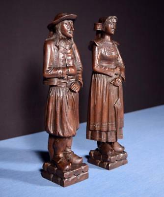 """*14"""" Pair of French Antique Hand Carved Breton Chestnut Figures"""