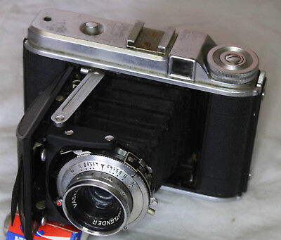 Voigtländerr Perkeo 1 Folding Camera, c. 1950, leather case