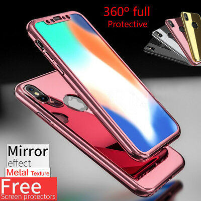 For iPhone X Case Mirror 360° Full Body Hard PC Protector Cover +Tempered Glass