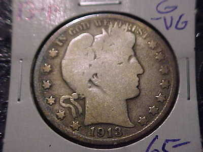 1913-P    Barber Half Dollar   G-VG   Y and part of L,T   Low Mintage Coin