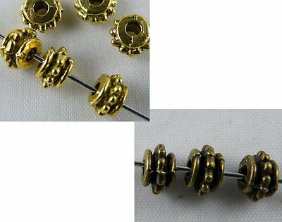 300pcs Gold/Bronze Color Dotted Bead Spacers 7x5mm 694