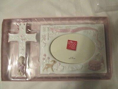 New in Box Russ Baby Girl Pink Baptism Cross and Picture Frame Gift Set